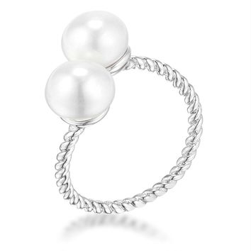 Rhodium Plated Twisted Rope Freshwater Pearl Wrap ring, Size 5