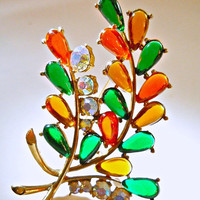 Fruit Salad SELRO Brooch Cabochon AB Rhinestones Floral Signed Vintage 3 Inches