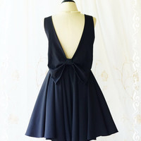 A Party Angel Dress  Black Party Dress Black Backless Prom Dress Bow Back Cocktail Dress Black Backless Wedding Bridesmaid Dresses XS-XL