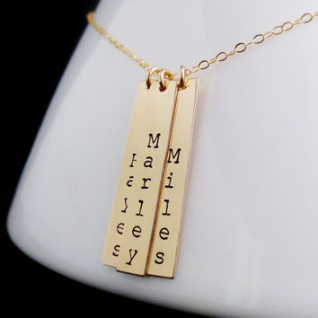 Personalized Gold Bars Necklace, Three Hand Stamped Bars, Mothers Day, Childrens Names, Vertical Kids Names, Mom Gift, Anniversary Present