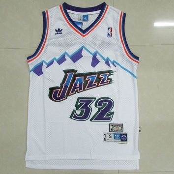 Utah Jazz #32 Karl Malone Retro Basketball Jersey White
