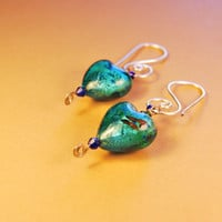 Earrings heart shaped green blue beads silver wire