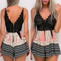 Black Geometric Print Cut Out Back Zippered Romper