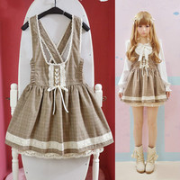 Lolita grid tall waist braces skirt  dress