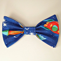 Kawaii Blue Hair Bow/Clip Space Rockets Stars