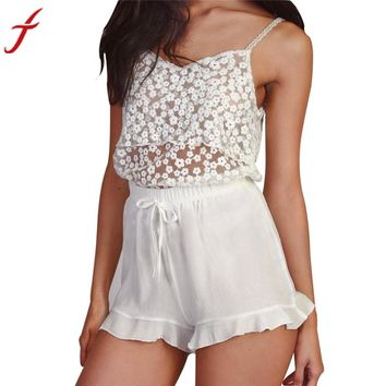 Lace Floral Sleeveless Casual Hollow Out Tank Top