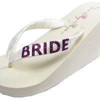 Purple Ivory Wedge Bride Flip Flops- Platform Heel and Bling