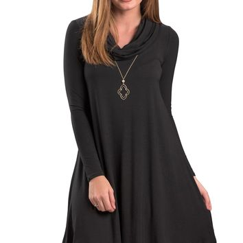 Chicloth Black Cowl Neck Long Sleeve Casual Loose Swing Dress