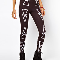 ASOS PETITE Exclusive Leggings In Triangle Print