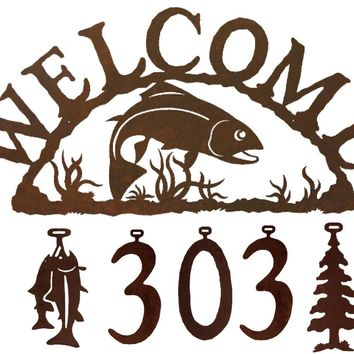 Trout Fish Handcrafted Metal Welcome Address Sign - Cabin Series