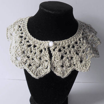 Crochet Collar. Detachable Collar. Silver Gray Collar. Crochet Neck Accessory. Crochet Jewelry.  Christmas.  Gift for Her.