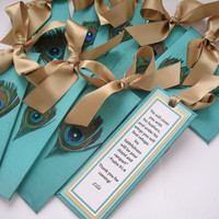 Peacock Wedding Bookmark Favors