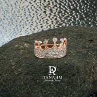 Queen Crown Ring with Desert Diamonds, Sterling Silver, Rose Gold Plated, RI003C