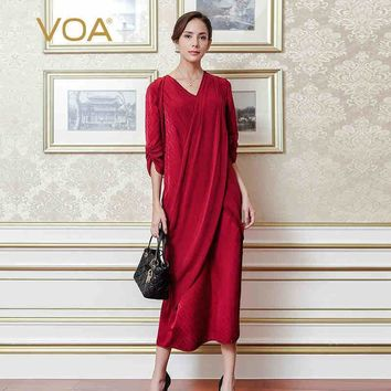 plus size silk jacquard vintage red Elegant v neck party dress solid slim irregular women maxi long dressalj01901