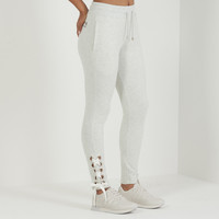 Lace-Up Slim Fit Jogger - Light Grey Marl