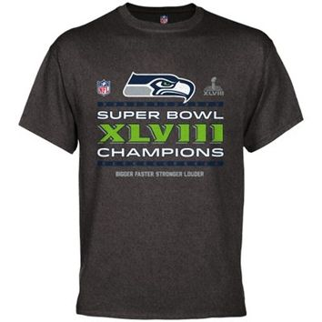 Seattle Seahawks Super Bowl XLVIII Champions Trophy Collection Locker Room T-Shirt - Charcoal