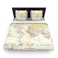 "Catherine Holcombe ""Travel"" World Map Fleece Duvet Cover"