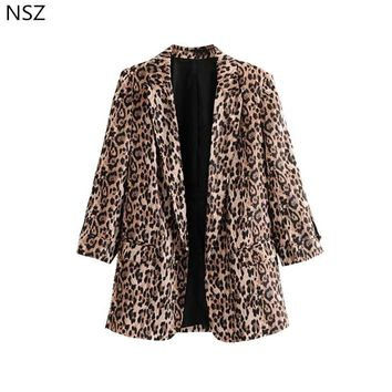 NSZ Women Sexy Leopard Print Blazer New Long Sleeve Coat Casual Jacket Outerwear