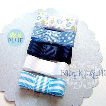 Baby Bows / Hair Clips / Infant Clips Spring Pack / Baby's First Hair Bow No Slip Clippies Navy n White. Newborn Baby Barrettes. Tuxedo Bow