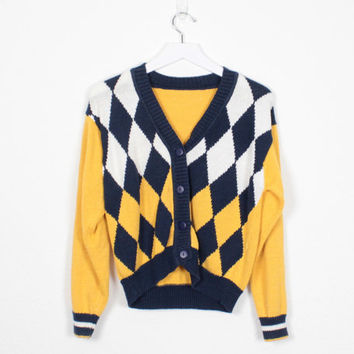 Vintage 80s Cardigan Yellow Navy Blue White Argyle Sweater 1980s Sweater V Neck preppy Gold Sweater Plaid Knit Jumper Color Block S M Medium
