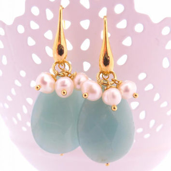 Amazonite drop earrings with freshwater pearls - sterling silver 925 gold plated 18 k - gemstone jewelry - Made in Italy Sofia's Bijoux