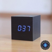 Sound Activated Digital LED Wooden Alarm Clock