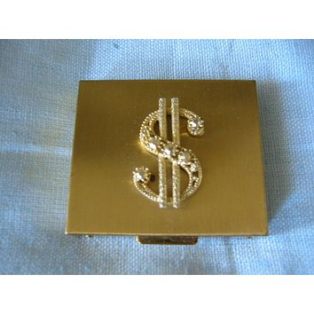 Brass Coin Compact Sparkle Rhinestones Dollar Sign Center Medallion