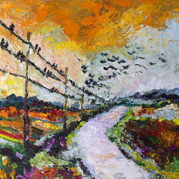Heading South Autumn Landscape Bird Migration Impressionist Original Oil Painting by Ginette Callaway