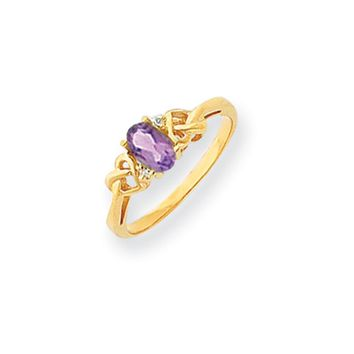 0.016 Ct  14k Yellow Gold 6x4mm Oval Amethyst Diamond Ring I2 Clarity and I/J Color