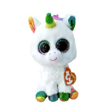 6'' 15cm TY Beanie Boos Pixy - White Unicorn Reg Plush Stuffed Animal Collectible Soft Big Eyes Doll Toy S72