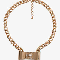 Curb Chain Bow Necklace