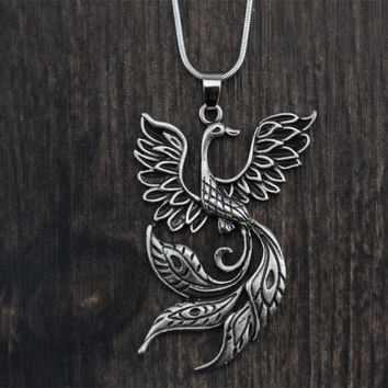 1pc Dropship Viking Pendant Phoenix Fire Bird Necklace Vintage Firebird Pendant Jewelry Punk Style For Gift
