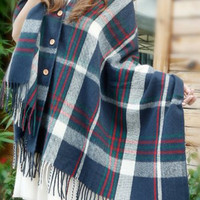Navy Plaid Buttoned Fringed Cape