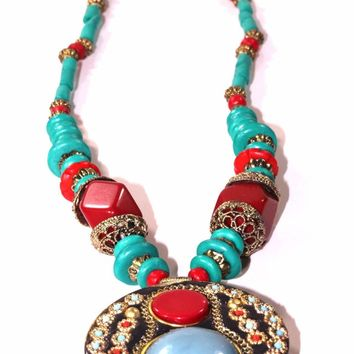 Turquoise & Red Coral Medallion Necklace