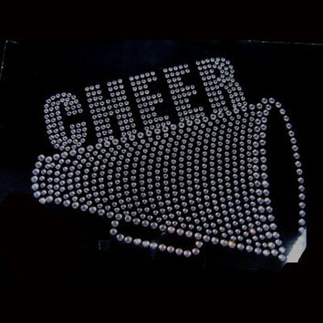 Cheer Mom - Rhinestone hot fix Iron on Bling Transfer - DIY for t-shirts and shirts - motif appliqué cheer or custom order