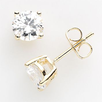 24k Gold Plated Cubic Zirconia Stud Earrings (White)