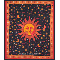 Psychedelic Celestial Black Sun Moon Tapestry Wall Hanging on RoyalFurnish.com