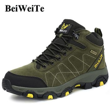 Mens Winter Hiking Boots Hunting Climbing Sports High Top Sneakers Camel Male Trail Trekking Snow Walking Outdoor Mountain Shoes