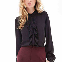 Black Ruffle Draped Trim Chiffon Blouse