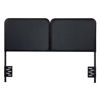Full Size Memory Foam Padded Steel Frame Black Faux Leather Headboard