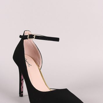 Qupid Nubuck Ankle Strap Dorsay Pointy Toe Pump