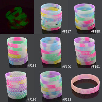 Butterfly Anti-war Letter Print Silicone Bracelet Men Women Unisex Glow in the Dark Rubber Wristband Random Color