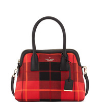 cameron street plaid maise satchel bag, cherry liqueur - kate spade new york