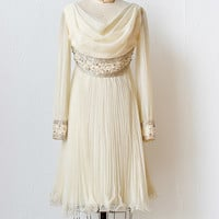vintage 1960s cream chiffon sequined dress [Pleiades Ivory Dress] - $188.00 : ADORED | VINTAGE, Vintage Clothing Online Store