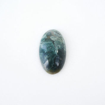 Dark Green Moss Agate Stone Cabochon, 26x44mm, Oval Natural Semi Precious Stone Supply, Jewelry Pendant Making