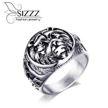 Men's Ring Stainless Steel Punk Rock Ring With Wire Cubic Zirconia Party Jewelry USA Size 2017 New Man ring