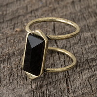 Double Band Black Stone Ring - Lacey Ryan Collection - Black
