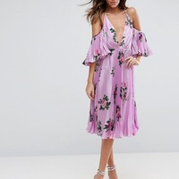 ASOS Lilac Floral Pleated Flutter Sleeve Midi Dress at asos.com