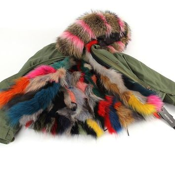 Fur collar Hooded Parkas Outwear Jacket