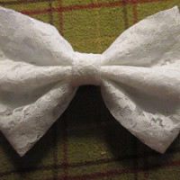 White Lace Hair Bow with French Barrette Clip